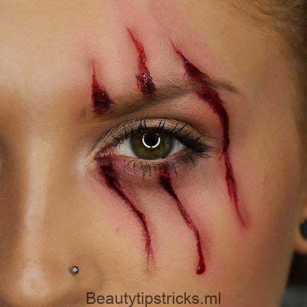 Scratch Mark Makeup für einfache Halloween-Make-up-Ideen   – Make-Up – #einfach…