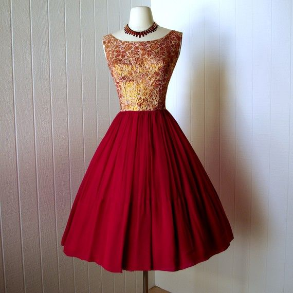 vintage 1950s dress ...gorgeous designer LOU-ETTE red crepe ...