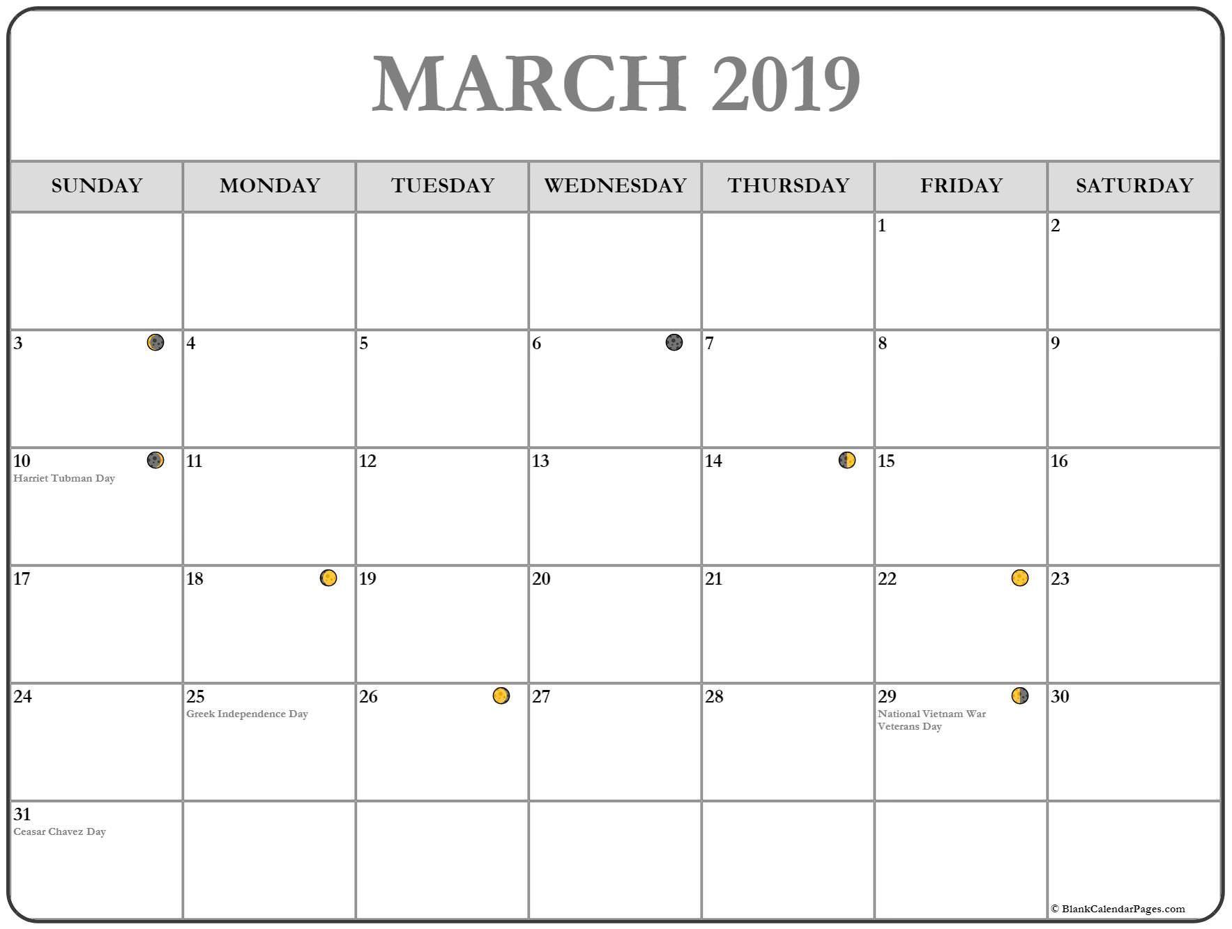 2019 March Moon Phases Template Calendar June 2019 Calendar
