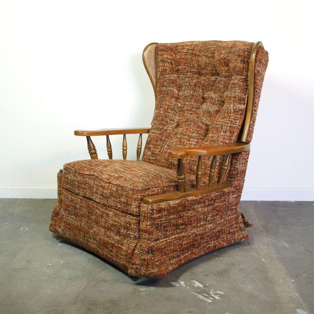 mid century recliner vintage 1960s 1970s la z boy rocker reclining wingback arm chair for. Black Bedroom Furniture Sets. Home Design Ideas