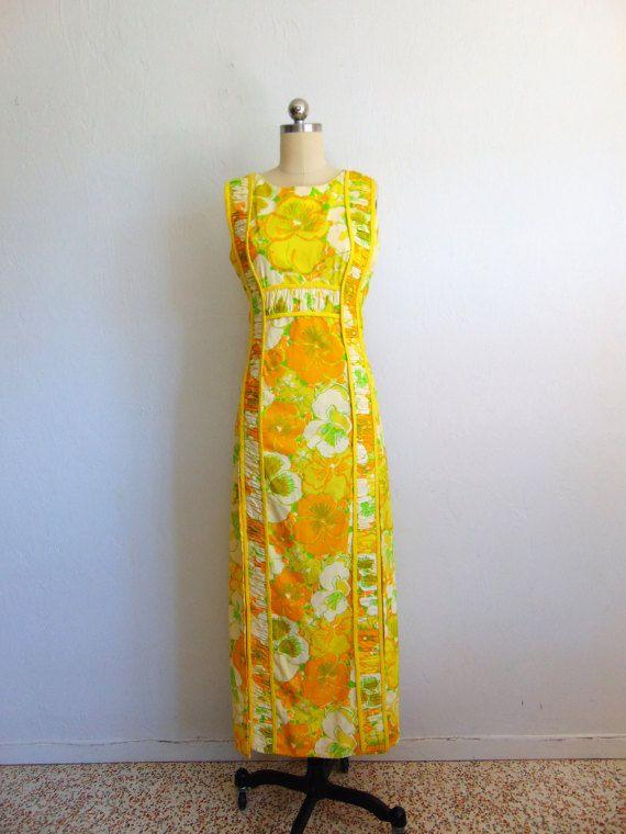 6ef92e0b05b 60s Lilly Pulitzer mod print MAXI dress size by sillyrabbitvintage