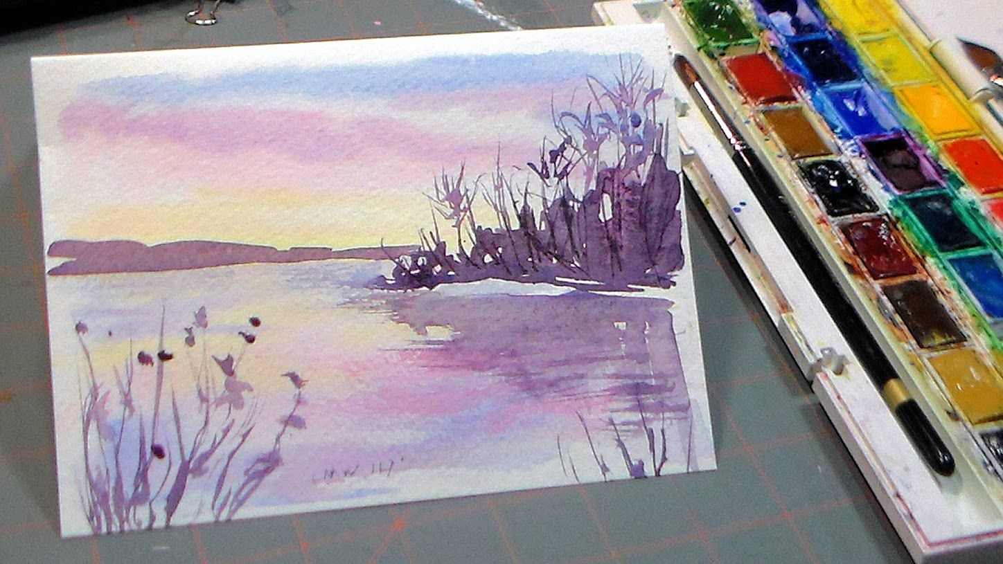 Easy 3 color watercolor sunset more watercolor tutorials for Easy watercolor tutorial