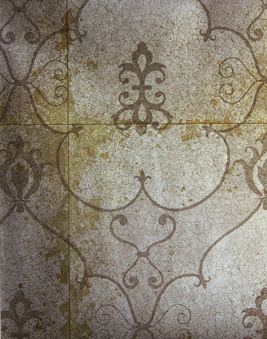 Pewter Wallpaper Imitating Antique Mirror With Crackle Effect And Shadow Of Rococo Design