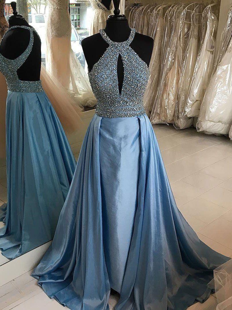 Halter Beaded Blue Formal Dress for Women Evening Long Backless Prom ...
