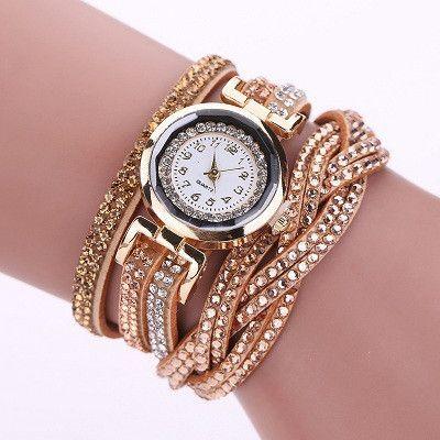 4d9d4e194 2016 New Luxury Bracelet Watch Women Casual Quartz Watch Rhinestone PU  Leather Ladies Dress Watches Fashion Wristwatch Gift