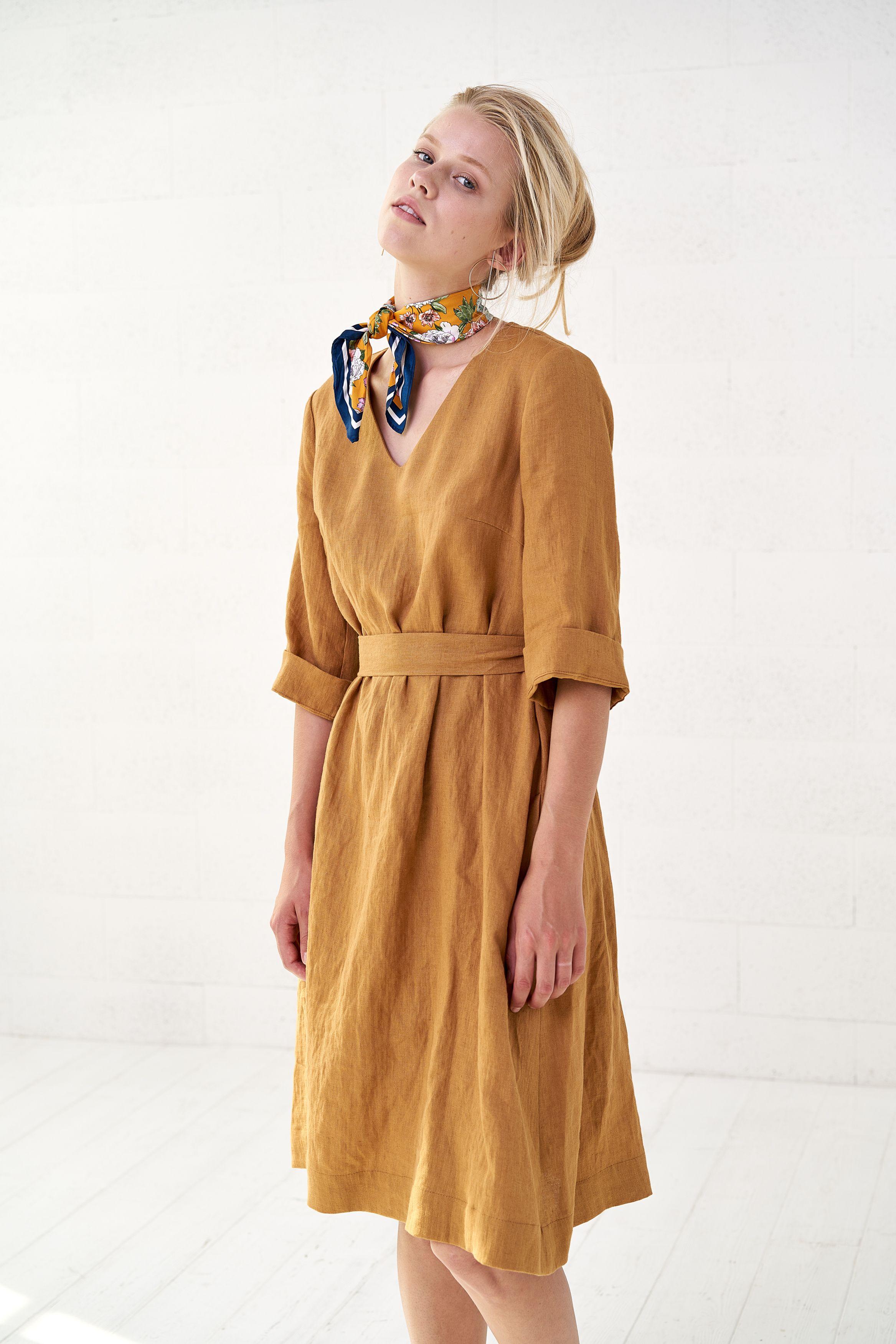 Women S Mustard Linen Wrap Dress Vintage Linen Midi Dress Etsy Vintage Wrap Dress Wrap Dress Linen Clothes [ 3500 x 2335 Pixel ]