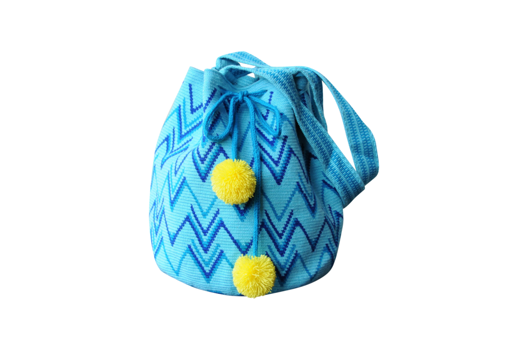 Turquoise Boho Geometric Purse with Pom Poms // Wayuu Mochila Tote // MARIYA $195