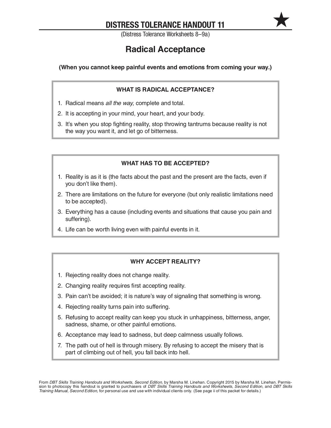 Pin By Morrison Clinic On Coping Skills Worksheets And Journaling Radical Acceptance Distress Tolerance Dialectical Behavior Therapy