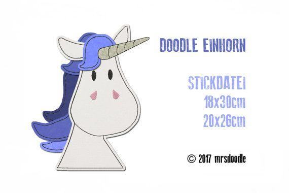 Stickdatei Einhorn Doodle 18x30 20x26 Von Muede Auf Etsy Pfaff Embroidery Files Embroidery