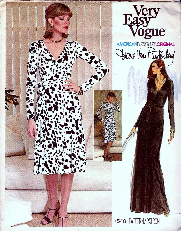 Vintage Diane Von Furstenberg Wrap Dress Pattern Vogue 1548 Diane Von Furstenberg Wrap Dress Pattern Vintage Wrap Dress Vogue Dress Patterns [ 1500 x 1176 Pixel ]