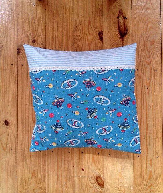 Retro Space Blue Striped Cushion by ThriftBoxUK on Etsy