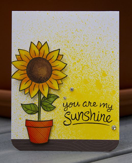 Lawn Fawn - Our Friendship Grows, Sunny Skies, Into the Woods and Pink Lemonade 6x6 papers _ bright and sunny card by Lizzy! You Are My Sunshine | Flickr - Photo Sharing!
