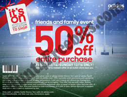 Adidas Outlet Stores: 50% off Purchase