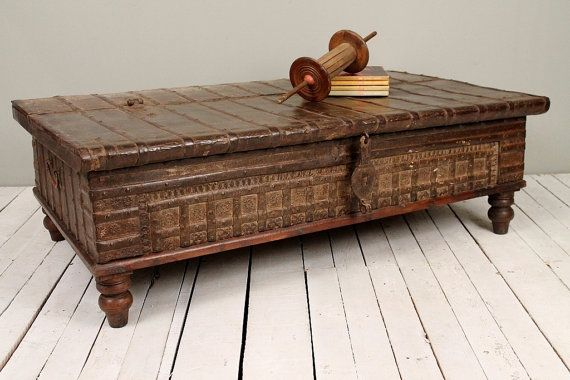 Reclaimed salvaged antique indian rust iron and bronze wedding trunk coffee table storage chest Indian trunk coffee table