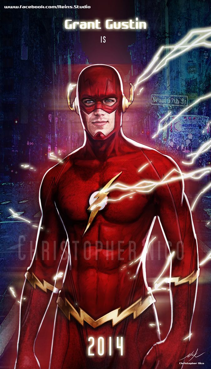 Grant Gustin as The Flash Art By Christopher Nico