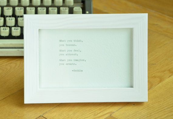 """Hand #typed onto a #handmade #paper (5,97""""x5,91"""") (15x15 cm). no frame  If you need other size contact me, I can cut the paper or typed on other card. Check my other listings,... #diy #etsy #home #homedecor #gift #quote #boho #bookworm #cardstock #handtyped #buddha #spirituality ➡️ http://jto.li/uEWjk"""