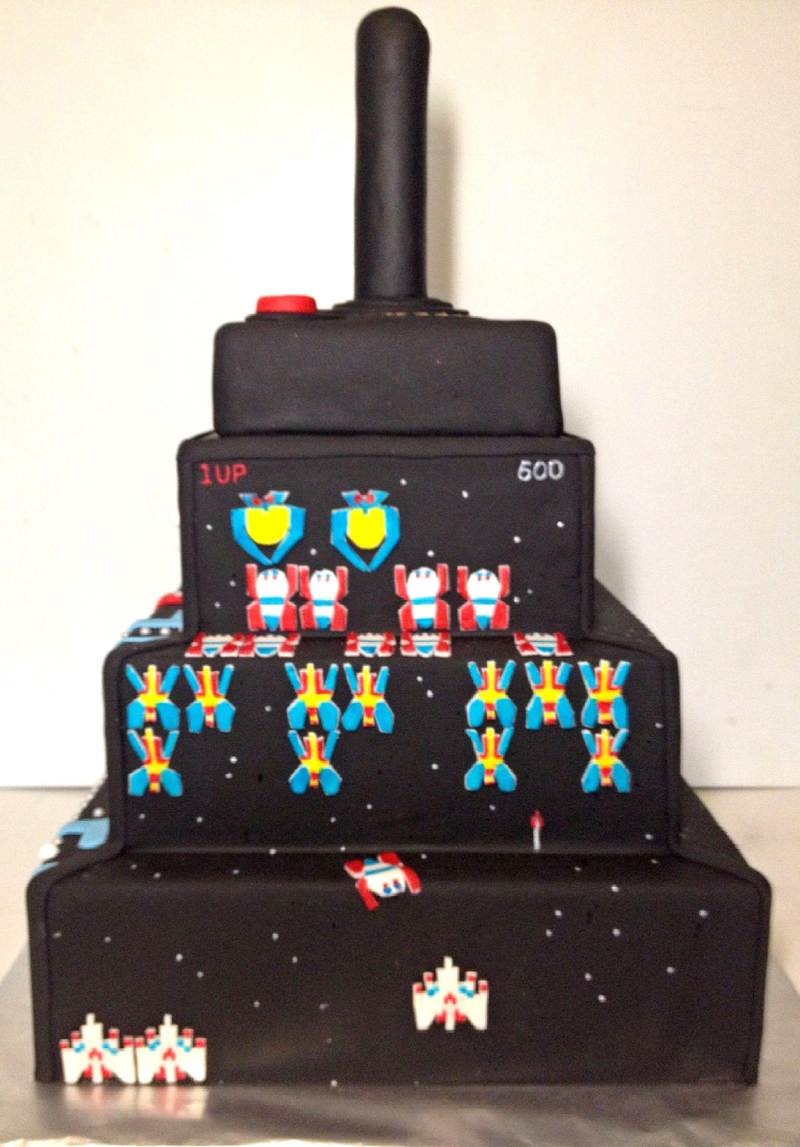 Incredible Retro Arcade Cake Galaga With Images Video Game Cakes Arcade Funny Birthday Cards Online Alyptdamsfinfo