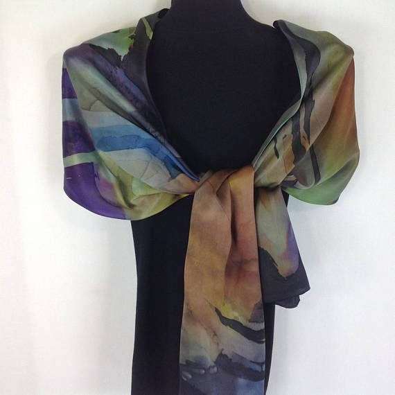 Copper Silk Scarf, Orange Silk Scarf, Silk Scarves, Hand Painted, Purple and Blue Scarves, Original, Rectangle Silk Scarf, Abstract Design This Hand Dyed Beauty in 100% silk satin is in a SHIMMERY COPPER, rusty ORANGE, Purple, Blue, BLACK and yellow-green. This particular scarf is one