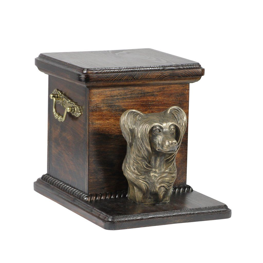 Beautiful wood casket cremation urn for dogs ashes with