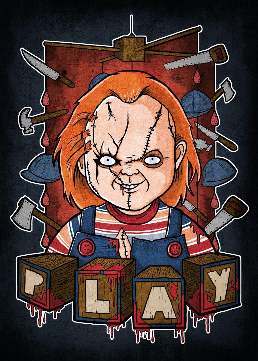 Chucky Horror Art Print Scary Movie Classic Vintage Thriller Villain Hand drawn Markers Horror Print 1988 Child/'s Play