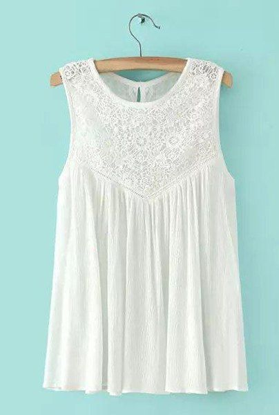 551d5ba6f0ea66 Casual Sleeveless White Embroidered Lace Splicing Blouse For Women ...