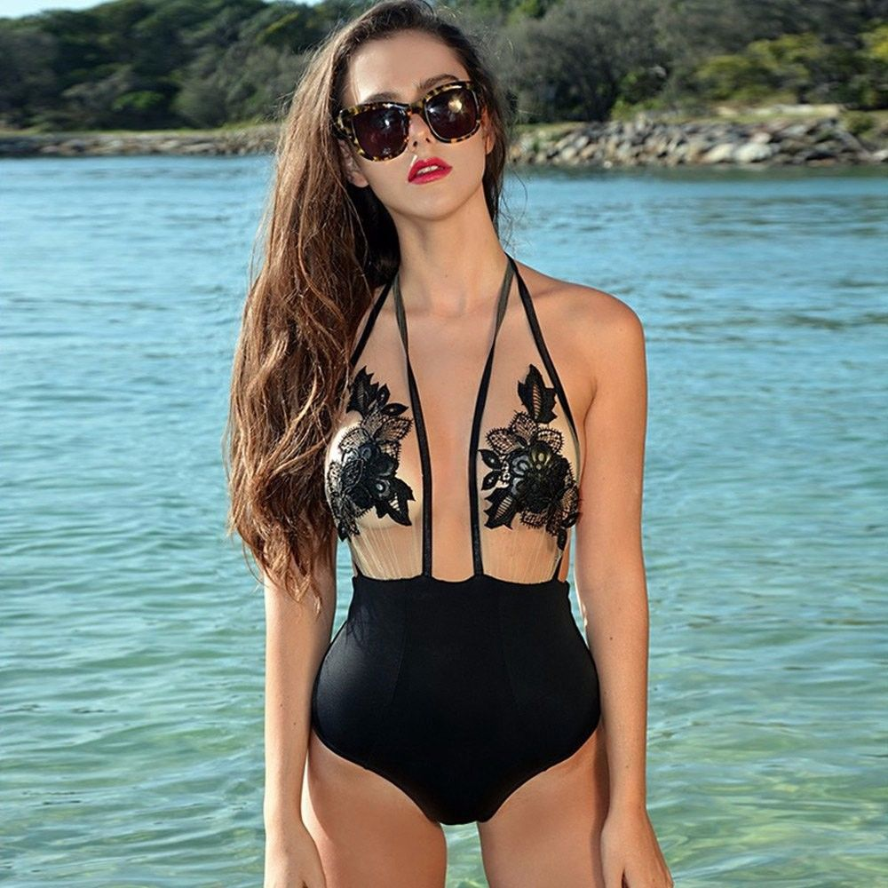 Lace bodysuit zaful  ZAFUL HOT Sale Sexy Halter Floral Laceup Bathing Suit Mesh