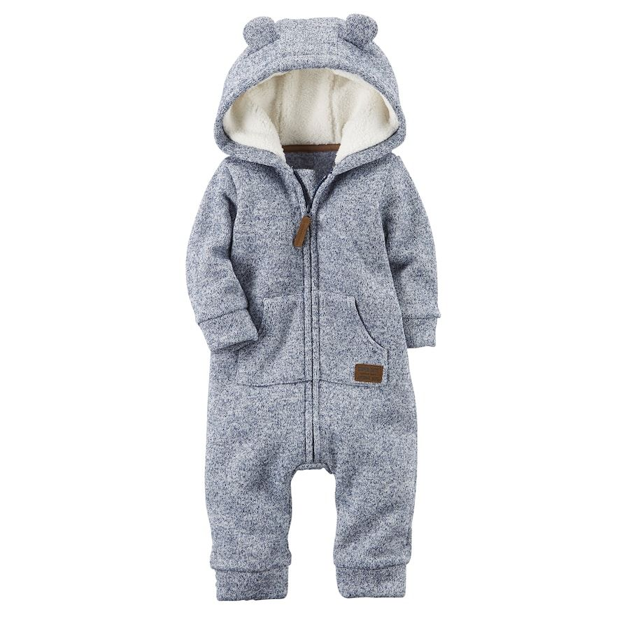 e839e08741b2 Baby Boy Carter s Sherpa Hooded Marled Coverall