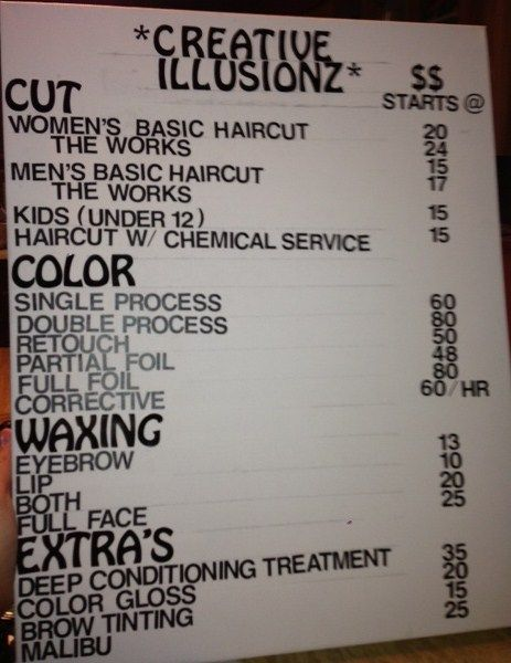 DIY salon price list BEFORE Salon stuff Home hair salons, Hair