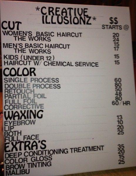 Diy Salon Price List Before Hair Salon Prices Hair Salon Price List Salon Price List