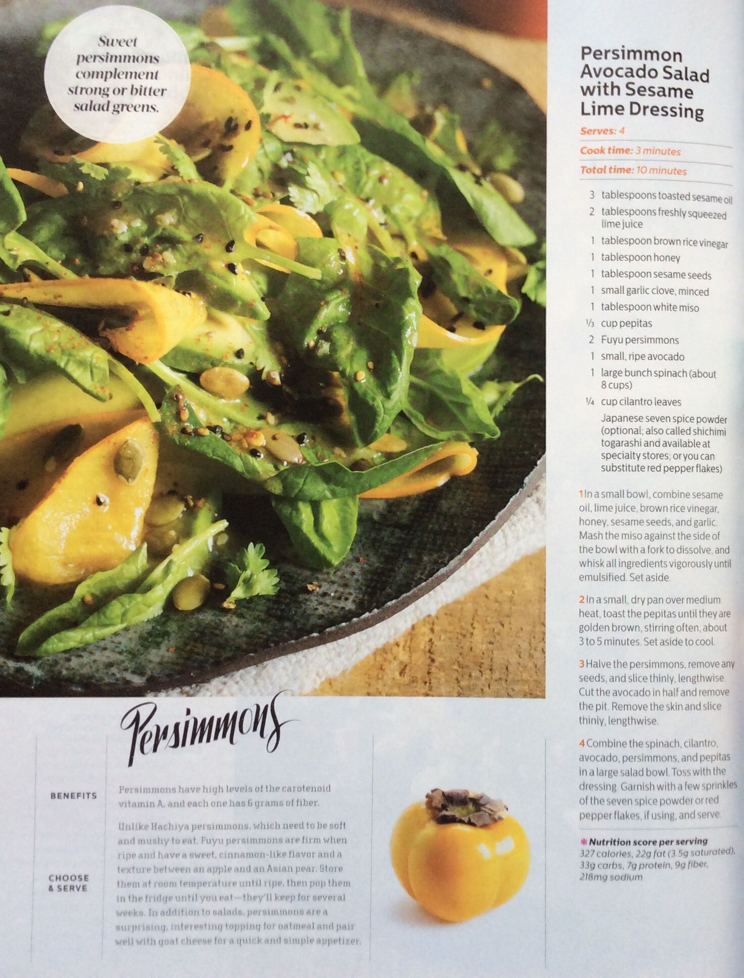 Persimmon and avocado salad with sesame lime dressing
