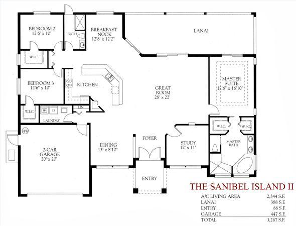 3 Bedroom 2 Bath Open Floor Plan One Level House Plans Pool House Plans Open Floor Plan