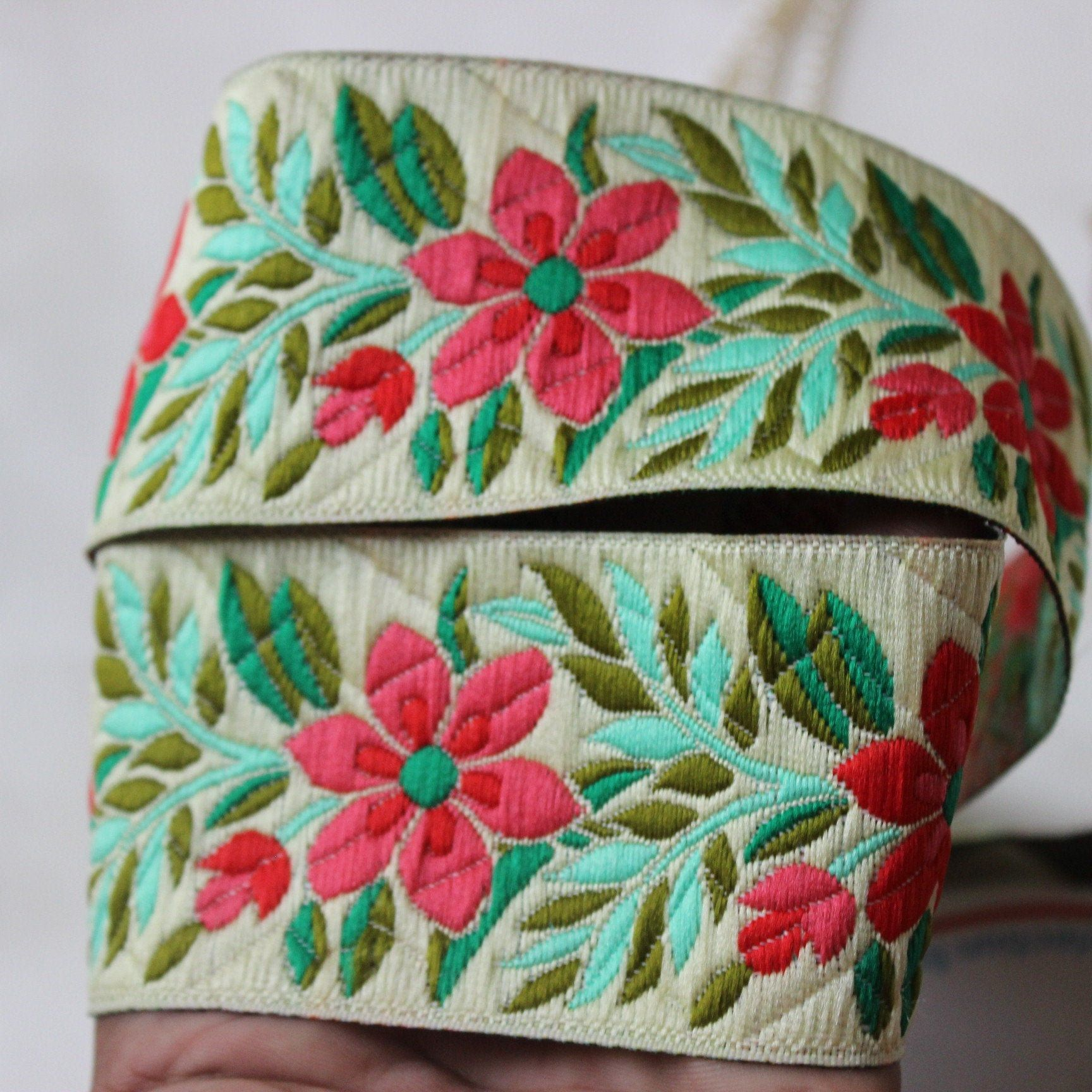 Red Indian Borders And Laces Jacquard Trim Lace Floral Indian Trim
