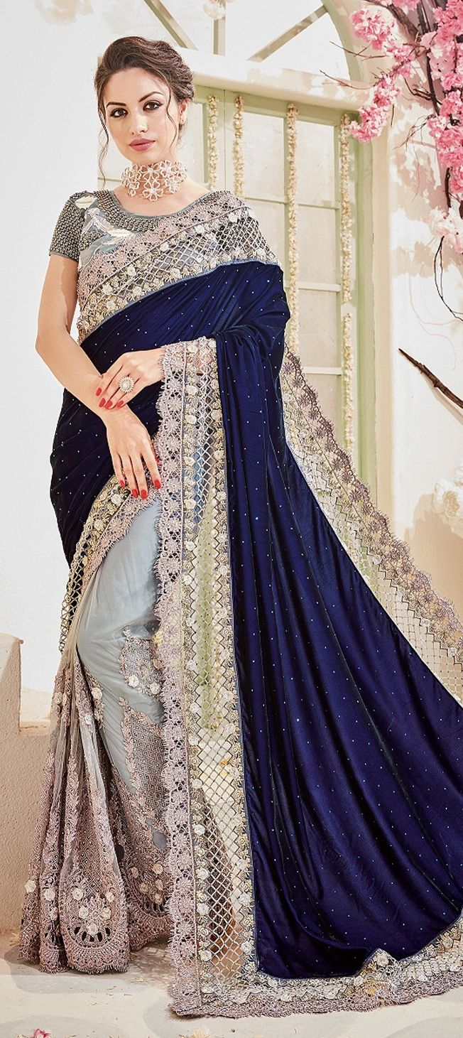 683611a7c5 760505 Blue, White and Off White color family Bridal Wedding Sarees in Net,  Velvet fabric with Border, Machine Embroidery, Stone, Thread work with  matching ...