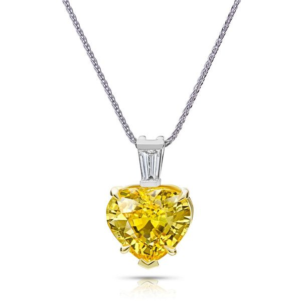 Women's Necklace by David Gross Yellow Sapphire Heart Shape Pendant  ($20,800) ❤ liked on