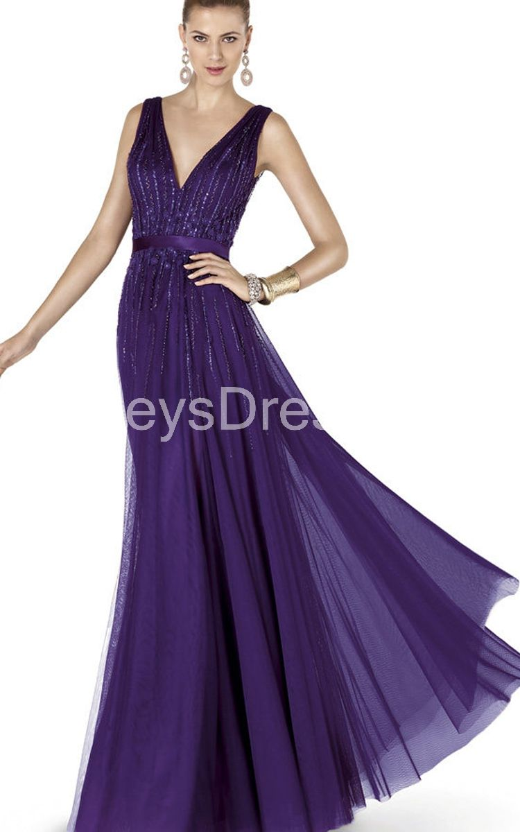 Charming V-neck Ruched Long Gown With Beading and Sash
