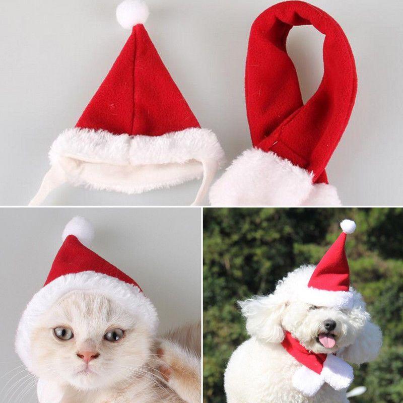 £2.39 GBP - 2Pcs Outfits Pet Cat Dog Santa Hat+Scarf Christmas Xmas Red - 2.39 GBP - 2Pcs Outfits Pet Cat Dog Santa Hat+Scarf Christmas Xmas