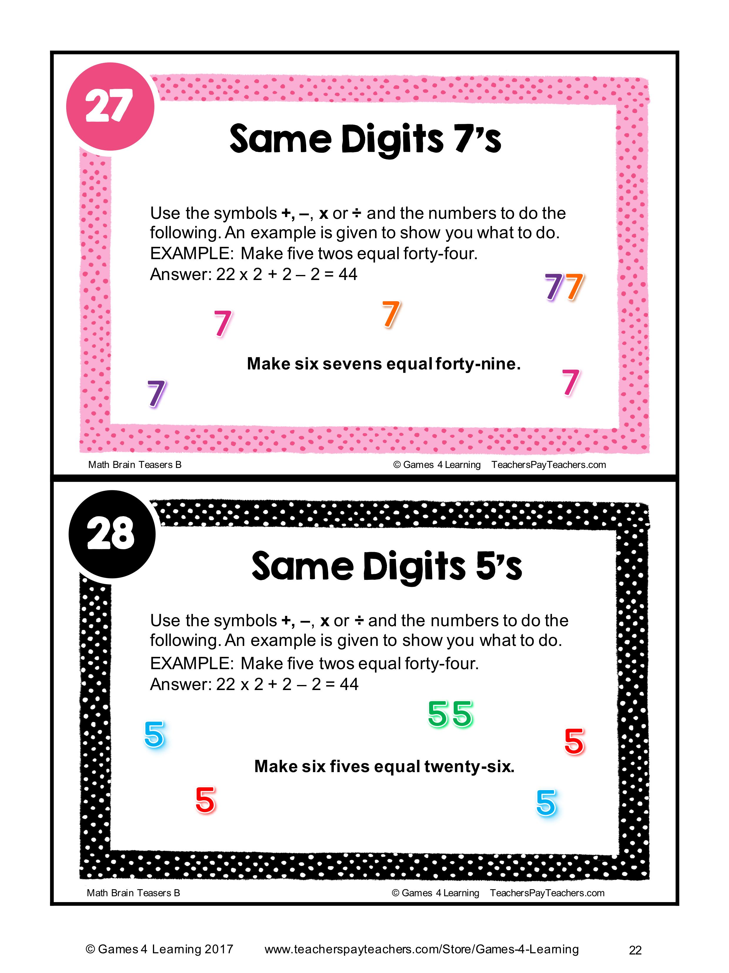Math Task Cards Math Problems And Math Brain Teasers Cards Set B