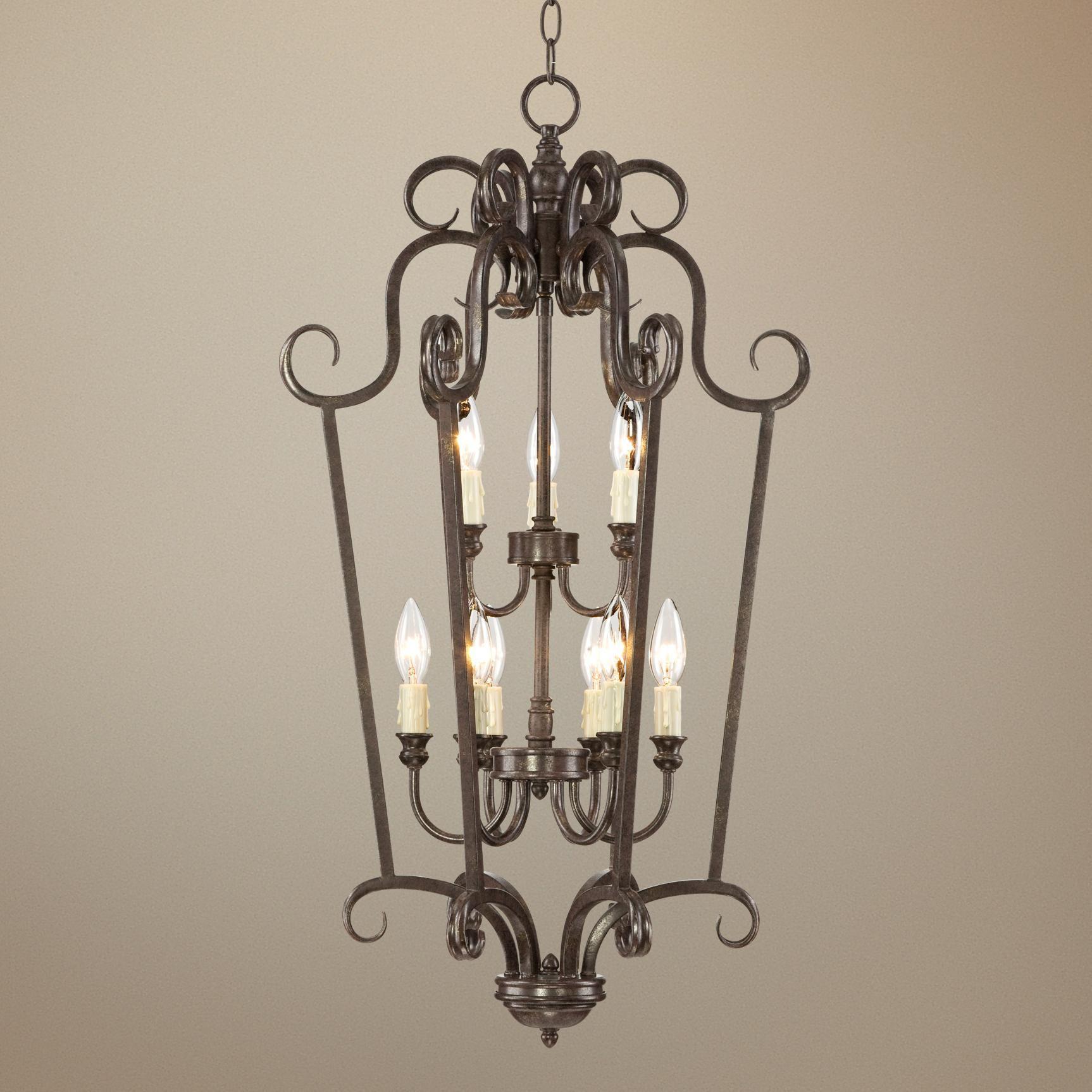 "Traditional Curves 17"" Wide Iron Foyer Pendant Light   LampsPlus.com"