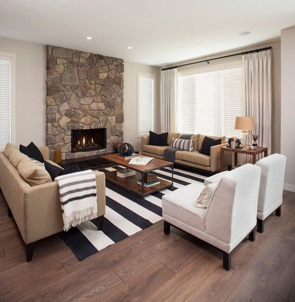 Beautiful Tan, White And Black Living Rooms | ... Living Room With Stripes  Area Rug Is Part Of The Living Room
