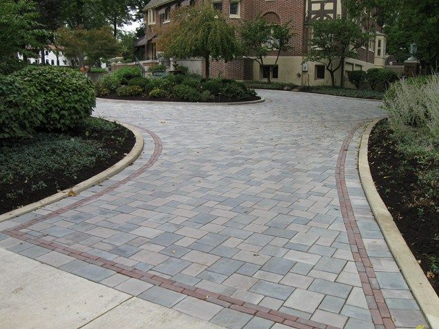 Gray paver driveway paver driveway border driveway the for New driveway ideas