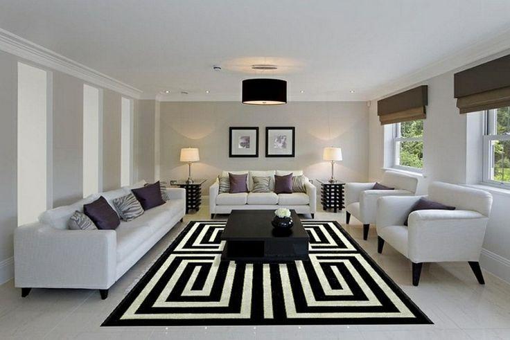 Déco Salon \u2013 salon moderne avec tapis géometrique en noir et blanc