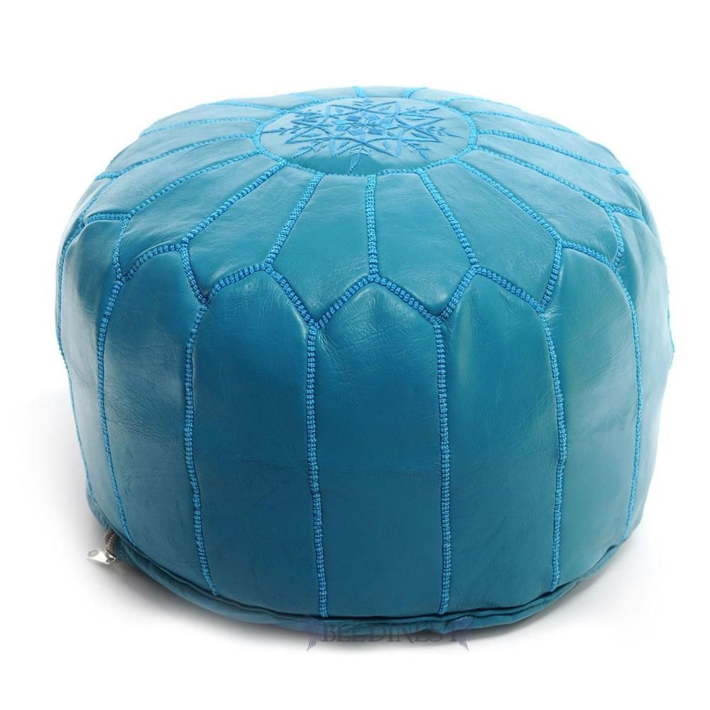 Stunning Moroccan Leather Pouf Pouffe Footstool  Ottoman in Turquoise