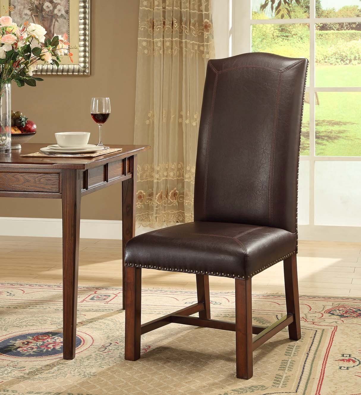 Best Treasure Trove Accents 17438 Dining Chairs Set Of 2 Brown 400 x 300