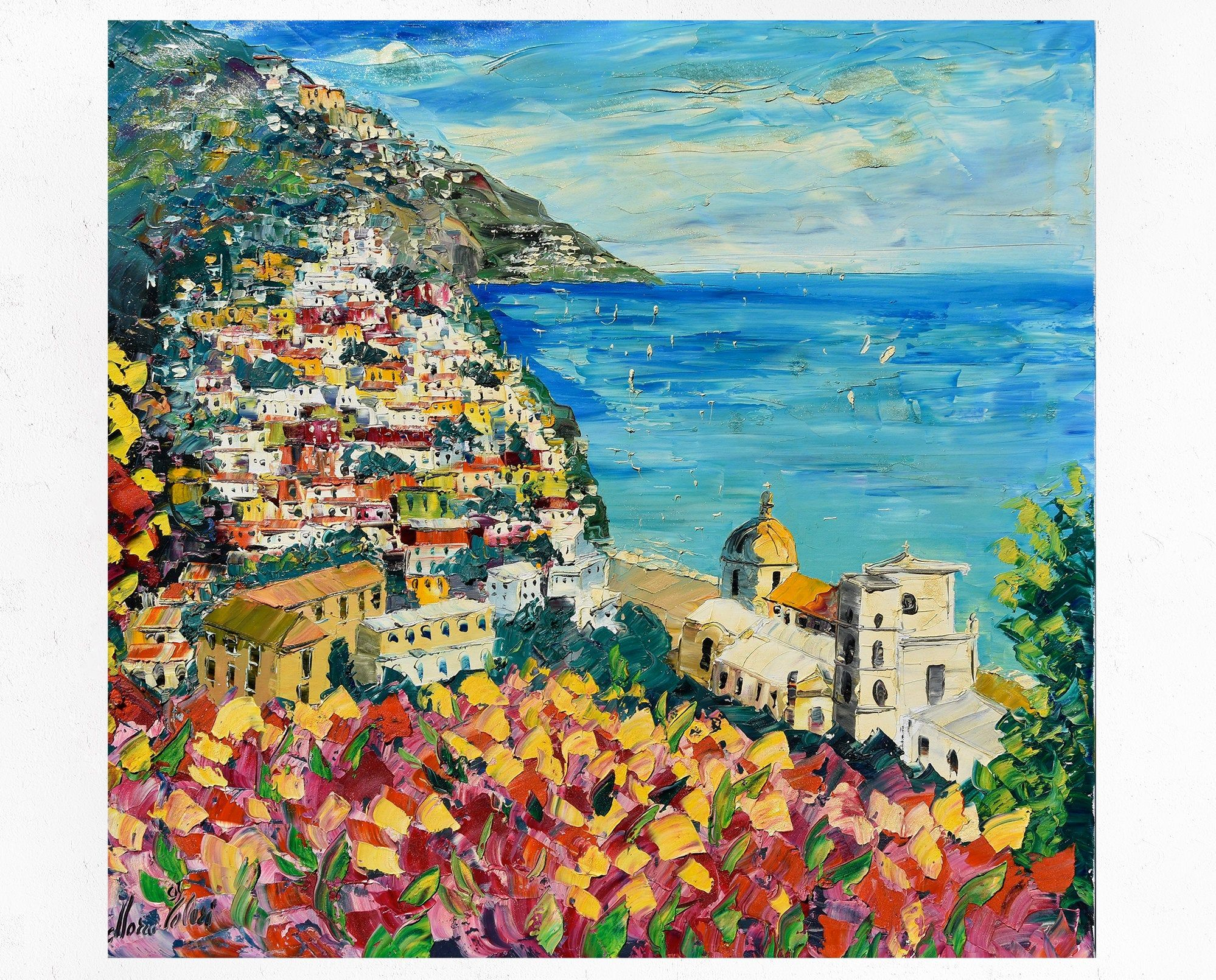 Positano Painting On Canvas Amalfi Coast Wall Art Decor Gift Idea Oil On Canvas Palette Knife Spatula 100x100cm 39 X39 Canvas Painting Painting Art