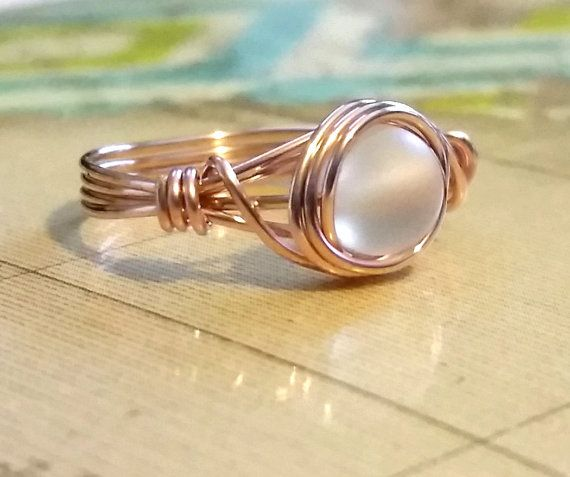 Rose Gold Wire Ring Aurora Borealis Ring Wire Wrapped Jewelry