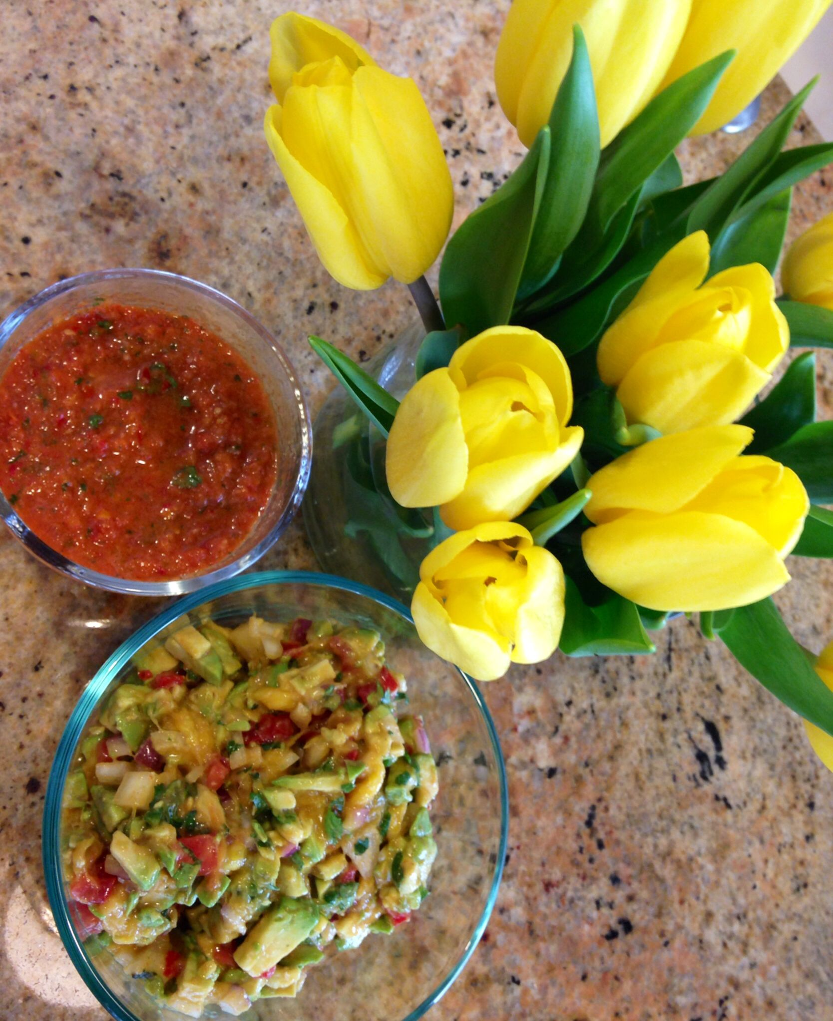 Easter avo and mango guac with homemade salsa