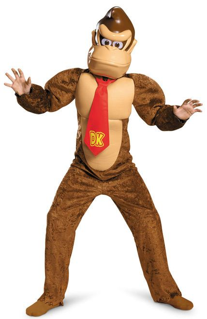 Donkey Kong Adult Accessory Kit Headpeice Neck Tie DK Gorilla Video Game