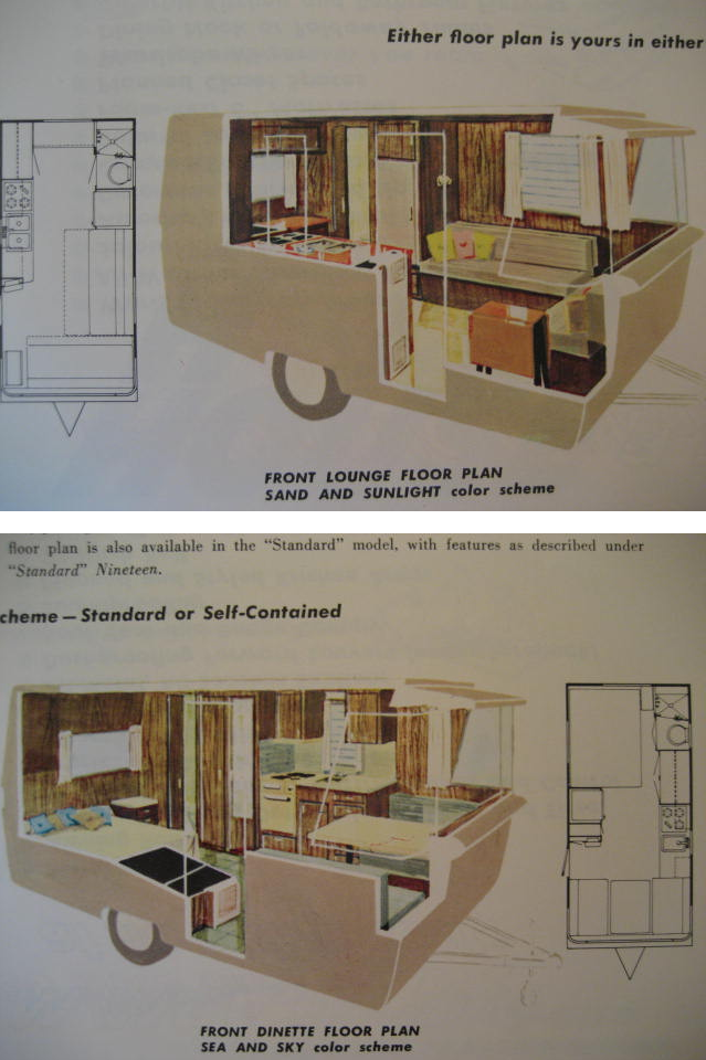 The Two Floor Plan Options For The 19 Holiday House For Gods Sake Someone Buy The One On Cra Vintage Trailer Interior Vintage Travel Trailers Vintage Camper