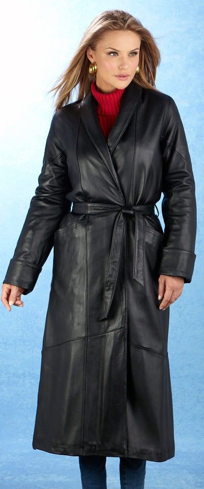 817ea102a6c4 Leather trench coat looks nice paired with the red turtleneck. Black