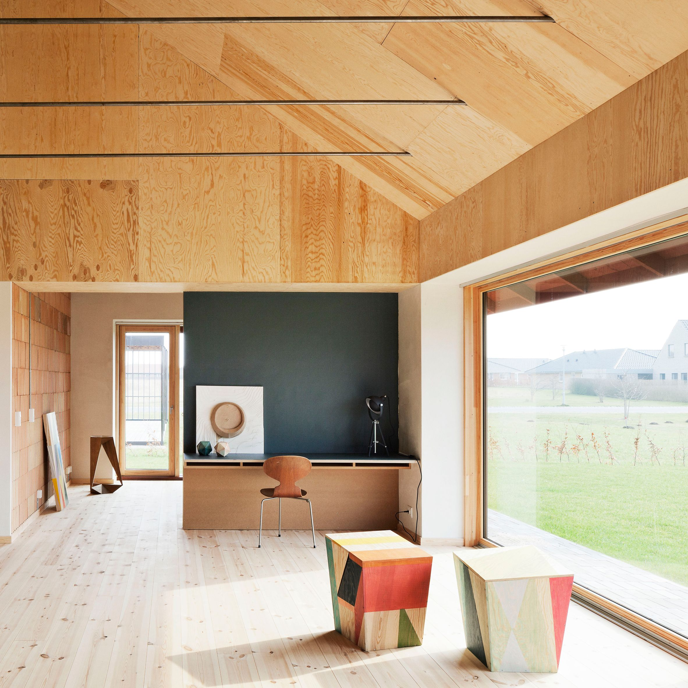 Plywood Walls And A Wide Window In This Contemporary Home In Denmark Brick House By Leth Brick House Interior Architecture Design Scandinavian Home Interiors